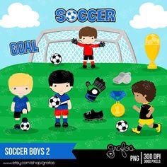 SOCCER BOYS 2 Clipart  Sport Clipart Soccer Clipart  / by grafos, $5.00