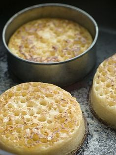 Crumpets: serve with cold, rainy weather, lashings of butter and a pot of fresh tea. Or top with cheese and grill for the fastest supper ever!