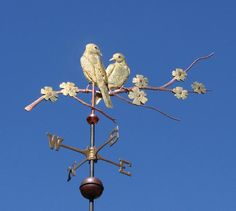 Love Birds Weathervane by West Coast Weather Vanes.  The Love Bird weather vane featured here is one of our more delicate designs. Both Love Birds and the cherry blossom petals featured here have been gilded to create a nice contrast with the tree branch.