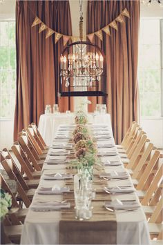 rustic decoration ideas. Simple!! Would work for a buffet and love the drapery.
