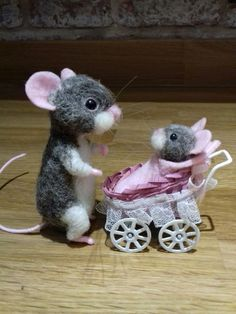 "Ooak needle felt felted mouse mice ""Emma"" & ""Ruby"". Handmade teddy doll animal"