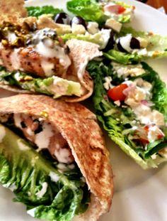 Chicken Kofte Pitta's with Greek Salad