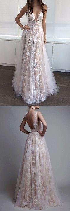 Champagne A-Line V-Neck Appliques Long Prom Dress #longpromdresses