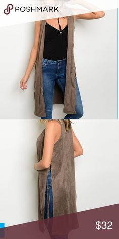 """Suede Mocha Vest Mocha Sleeveless Suede Vest  Long sleeveless lace up side vest  Super cute for fall Perfect with a pair of leggings or jeans with boots. Casual or dressy. 90% polyester  10% spandex  ❗️PLEASE PAY ATTENTION TO MEASUREMENTS ❗️ ❗️ THESE MEASUREMENTS ARE TAKEN FROM A NORMAL SIZE ❗️  ✨ Small: bust 32"""" ( 3 to 5 ) ✨ Medium: bust 36"""" ( 7 to 9 ) ✨ Large: bust 38"""" ( 11 to 13 ) Bewitched Boutique Jackets & Coats Vests"""