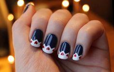 Heart navy nail