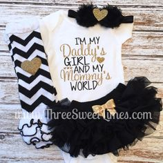 I am the girl of my dad and my mom world baby girl clothes newborn baby shower gift return home suit new dad gift girl Daddys Girl And My Mommys World Black And Gold Baby Girl Outfit ? Thank you for stopping by Three Sweet Limes ? Outfits Niños, Newborn Outfits, Kids Outfits, Daddys Girl, My Baby Girl, Baby Girl Stuff Newborn, Baby Girl Fashion, Kids Fashion, Quotes Girlfriend