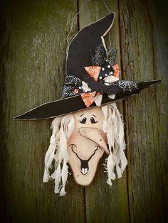Rustic Halloween Witch Door Wall Hanger