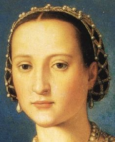1550 Eleonora de Toledo by Bronzino    Headress           This shows Eleonora de Toledo's jeweled net headdress in her 1550 Bronzino portrait.