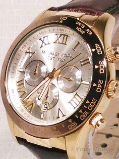Michael Kors Layton Chrono Croc Leather Gold Men's Watch
