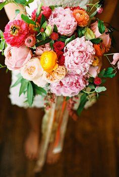 amazing spring bouquet, photo by Amber Snow http://ruffledblog.com/austin-botanical-inspired-shoot #flowers #weddingbouquet #pink