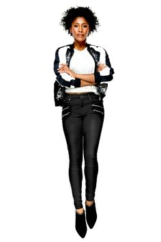 Sleek, black, and with multiple zippers, these are calling your name if you wanna go a little rock star… without struggling into leather pants. (Jeans, $79.50; Nine West. Bomber, $115; oasis-stores.com. T-shirt, $19; joefresh.com. Booties, $99; vincecamuto.com.)
