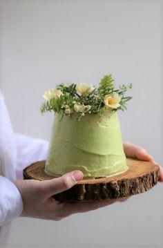 vegan cake with avocado lime coconut cream frosting