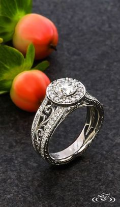 Filigree Swirl Halo Engagement Ring #GreenLakeJewelry