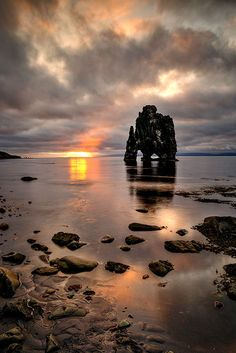 The Hvitserkur (white shirt) rock is also known as the Drinking Dragon of Hvammstangi. Iceland.