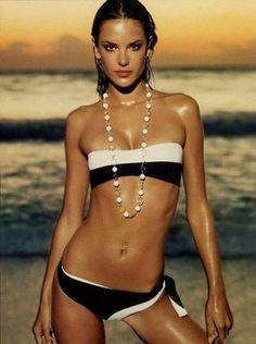 sexy photoshoot of alessandra ambrosio Alessandra Ambrosio, Bikini Swimwear, Swimsuits, Black And White Bikini, Black White, Brazilian Models, Glamour, Bathing Beauties, Couture