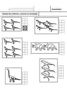 Compter les dinosaures dans les boîtes et dessiner les schèmes correspondants, en observant un premier modèle.
