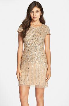 Art Deco Bridesmaid Dresses - Embellished Gold Short Dress