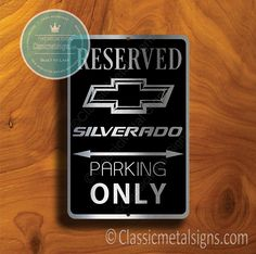 Classic Style Silverado Parking Only Sign – Gift for Silverado Owner – UV Protected Weatherproof Signs Suitable for Outdoor or Indoor Use – Exclusively from Classic Metal Signs. Open Close Sign, Reserved Parking Signs, Closed Signs, No Soliciting Signs, Cafe Sign, Sports Signs, Man Cave Signs, Garage Signs, Business Signs