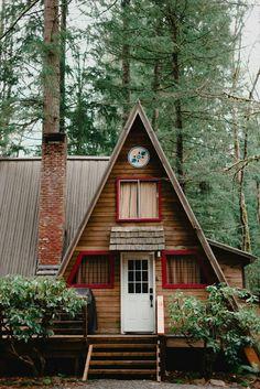Shingled a-frame cottage
