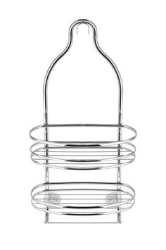 """AXIS SHOWER CADDY (Chrome) (21""""H x 9.5""""W x 4.25""""D) by InterDesign, Inc.. $24.99. Two shelves. Color: Chrome. Elegant chrome look. Size: 21""""H x 9.5""""W x 4.25""""D. Non-slip grip for shower head. Organize your bathroom in style with this elegant Chrome Shower Caddy. Two shelves offer space for shampoos, soaps, sponges and more, and a towel rack underneath is perfect for hanging towels and brushes. Made of steel with a polished chrome finish. Non-slip grip for shower head ..."""