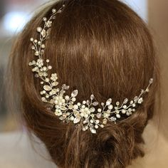 Bridal Headpiece Crystal and Pearl Bridal Hair Piece Ivory
