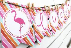Flamingo Collection. Banner. DiY Printable Design. by PinkadotShop, $6.00