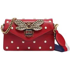 Gucci Women Broadway Bee Embellished Leather Bag (159.505 RUB) ❤ liked on Polyvore featuring bags, handbags, shoulder bags, red, genuine leather purse, red handbags, red leather shoulder bag, genuine leather shoulder bag and real leather purses