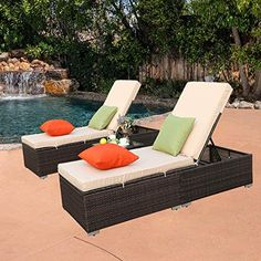New 3 Pcs Outdoor Chaise Lounge - Easy Assemble - Thick & Comfy Cushion Wicker Lounge Chairs Include 1 Table 2 Chaise Lounge- Mix Rattan Light Brown Cushion online shopping - Topusgoods Resin Patio Furniture, Furniture Sofa Set, Wicker Furniture, Wicker Lounge Chair, Wicker Sofa, Rattan, Tropical Outdoor Furniture, Brown Cushions, Pool Lounge
