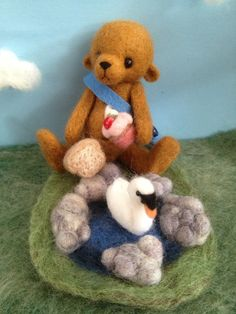 Needle Felted Bear and his Swan Friend £32.00