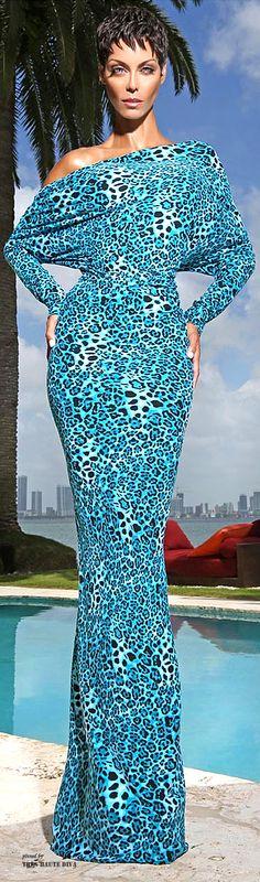Long Blue Animal Print Dress Wow! Love the color.