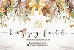 "Watercolor ""Happy Fall"" clip arts by designloverstudio on @creativemarket https://crmrkt.com/rPpMe"