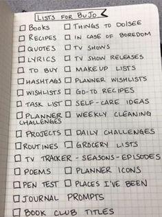 List & Spread Ideas for the BuJo