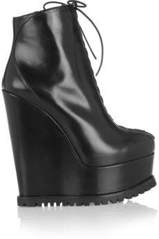 Alaïa Leather wedge ankle boots | NET-A-PORTER