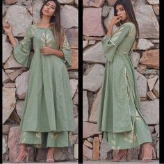 Chanderi silk kurti with gota work and with plazo. Chanderi silk kurti with gota work and with plazo Silk Kurti Designs, Kurta Designs Women, Blouse Designs, Pakistani Outfits, Indian Outfits, Indian Designer Suits, Indian Attire, Indian Wear, Anarkali