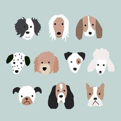 Puppy Faces wall art for children's rooms or birthday party decor - blue background Dog Face Drawing, Puppy Party, Puppy Face, Dog Illustration, Kids Prints, Native Art, Blue Backgrounds, Animal Drawings, Cute Wallpapers