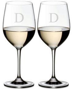 Riedel Vinum Monogram Collection Block Letter Chardonnay/Chablis Wine Glasses - Z Script Lettering, Block Lettering, Chablis Wine, Wine Glasses Online, Crystal Wine Glasses, Wine Collection, Sauvignon Blanc, Monogram, Crystals