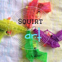 Squirt Gun Art tutorial on site #kids #crafts #art #activities