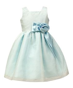 Blue Stripe-Overlay A-Line Dress - Toddler & Girls
