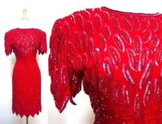 Red Sequin Dress by VolereVintage on Etsy, $75.00