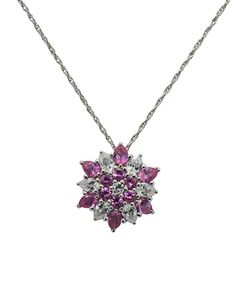 Look at this Michelle Lee White & Pink Sapphire Snowflake Pendant Necklace on #zulily today!