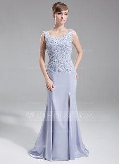 Mother of the Bride Dresses - $142.99 - Mermaid Scoop Neck Sweep Train Charmeuse Mother of the Bride Dress With Lace Beading Sequins (008016261) http://jjshouse.com/Mermaid-Scoop-Neck-Sweep-Train-Charmeuse-Mother-Of-The-Bride-Dress-With-Lace-Beading-Sequins-008016261-g16261