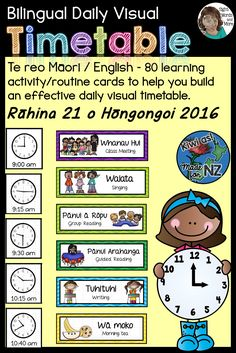 The Bilingual Daily Visual Timetable Maori / English in chevron style. This bilingual timetable (for English medium education setting) is a set of colourful and appropriately illustrated, learning activity/routine and time cards to assist you in constructing a visual timetable/schedule for daily or weekly use. Primary Classroom, Classroom Activities, Learning Activities, Kids Learning, Classroom Organisation, Classroom Displays, Classroom Management, English Teaching Resources, Teaching Ideas