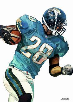 Fred Taylor Jacksonville Jaguars watercolor by Michael Pattison