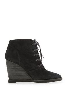 I love a great wedge! MANGO - Suede wedge ankle boots
