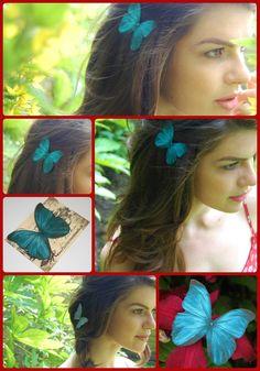 Silk Butterfly hair clip - Teal £4.00