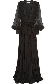 Saint Laurent Belted chiffon gown | NET-A-PORTER