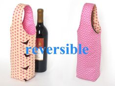 Easy No Bias Tape Wine Tote Sewing Pattern Wine Purse, Wine Tote, Wine Bags, Wine Carrier, Thing 1, Expensive Wine, Bottle Bag, Water Bottle, Bottle Cover