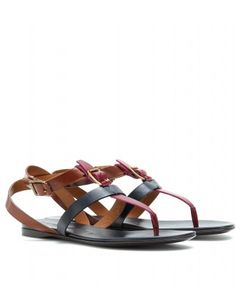 Burberry London Color Blocking Leather Sandals