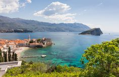 Budva old town (left). St Nicola's island (right) Montenegro, Old Town, Gem, Saints, River, Island, Outdoor, Old City, Outdoors