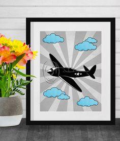 Airplane Print, Black and White, Blue, Starburst, Digital Wall Prints, Retro Art, Vintage Plane, Printable Wall Decor, Plane, Soaring Plane